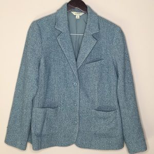 L.L Bean Large Wool Blazer Dress Jacket Blue